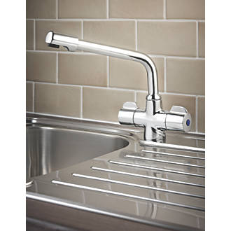 Swirl Ceramic Disc Mono Mixer Kitchen Tap Chrome.