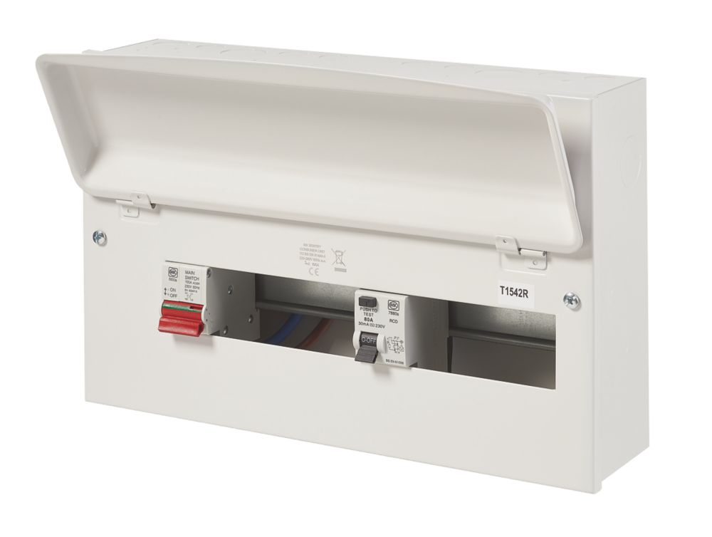 Image of MK Sentry 100A 16-Way Split Load Metal Consumer Unit & 80A RCD