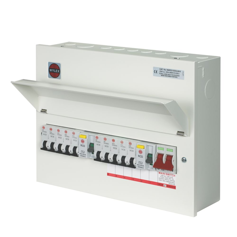 Image of Wylex 10-Way High Integrity Dual RCD Metal Consumer Unit & 10 MCBs