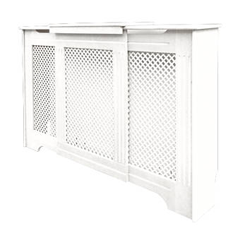 Victorian Adjustable Radiator Cabinet White 970-1420 x 235 x 936mm.