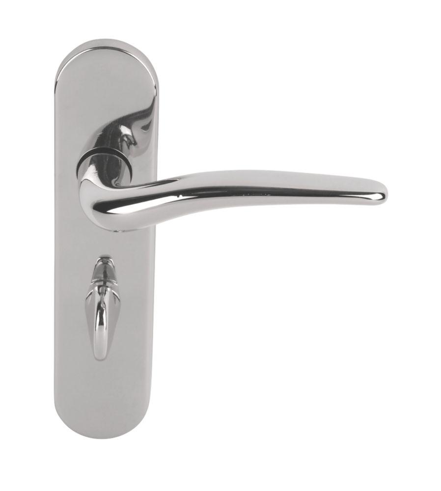 Image of Urfic Yorkshire Bathroom Door Handles Pair Polished Nickel