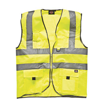 "Dickies Hi-Vis Waistcoat Saturn Yellow Large 46"" Chest"