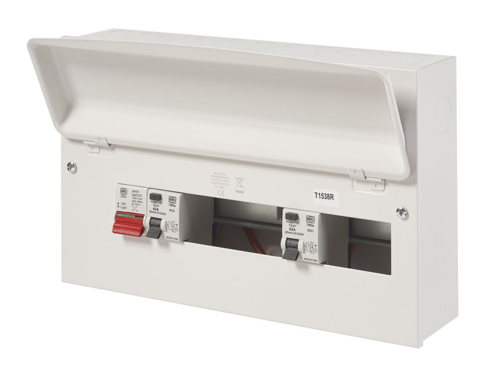 Image of MK Sentry 100A 16-Way Dual RCD Metal Consumer Unit & 2 x 63A RCDs