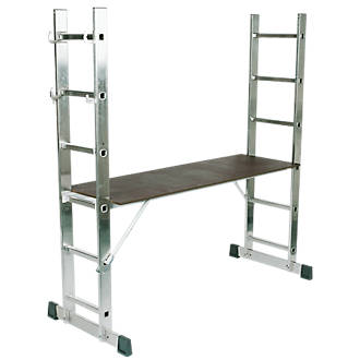 Lyte 4Way Combination Platform Ladder Aluminium Alloy 2 x 6 Rungs 2.81m