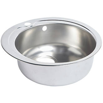 round kitchen sink stainless steel 1 bowl 485 x 485mm sinks screwfixcom. beautiful ideas. Home Design Ideas