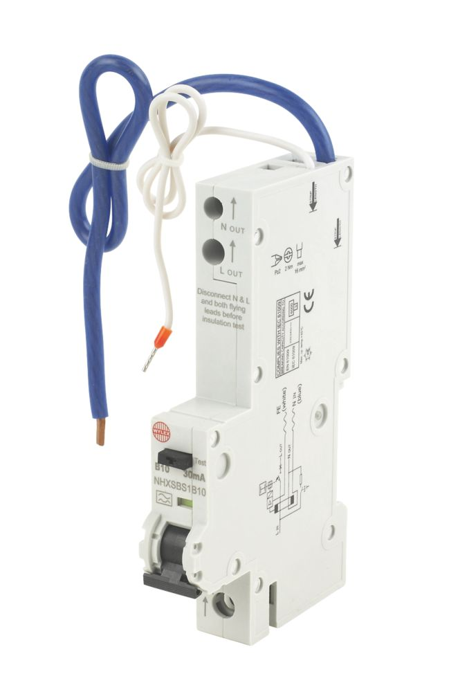 Image of Wylex 10A 30mA Single Pole Type B Curve RCBO