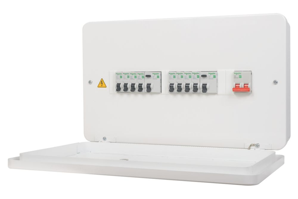 Image of Schneider 100A 12-Way High Integrity 80A Dual RCD Metal CSU + 8 MCBs