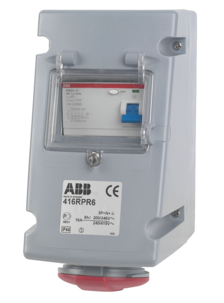 ABB Socket 16A 3P+N+E 415V IP44 w/ 40A RCD