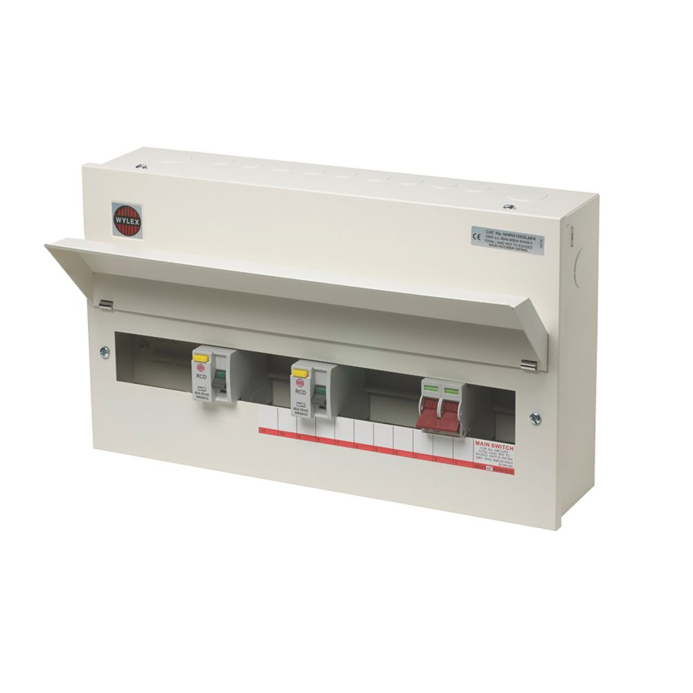 Image of Wylex 100A 15-Way Metal High Integrity Dual RCD Consumer Unit