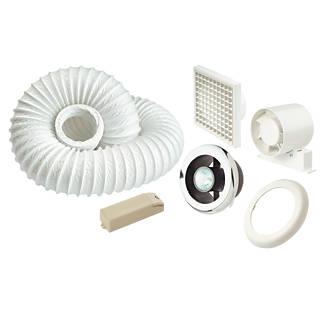 Manrose Shower Light   Extractor Fan Kit Chrome 125mm. Manrose In Line Centrifugal Shower Fan Kit Chrome 100mm   Shower