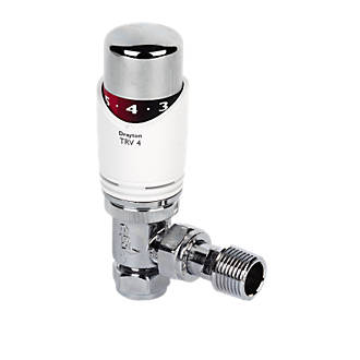 Drayton TRV4 White & Chrome Angled TRV 15mm