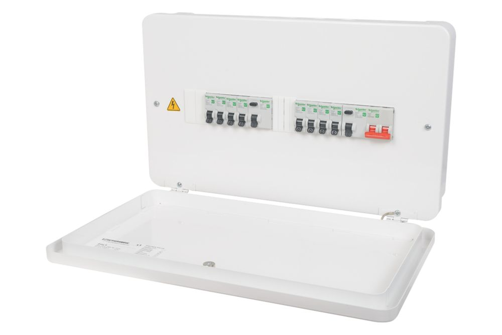 Image of Schneider 100A 12-Way High Integrity 63A Dual RCD Metal CSU + 8 MCBs