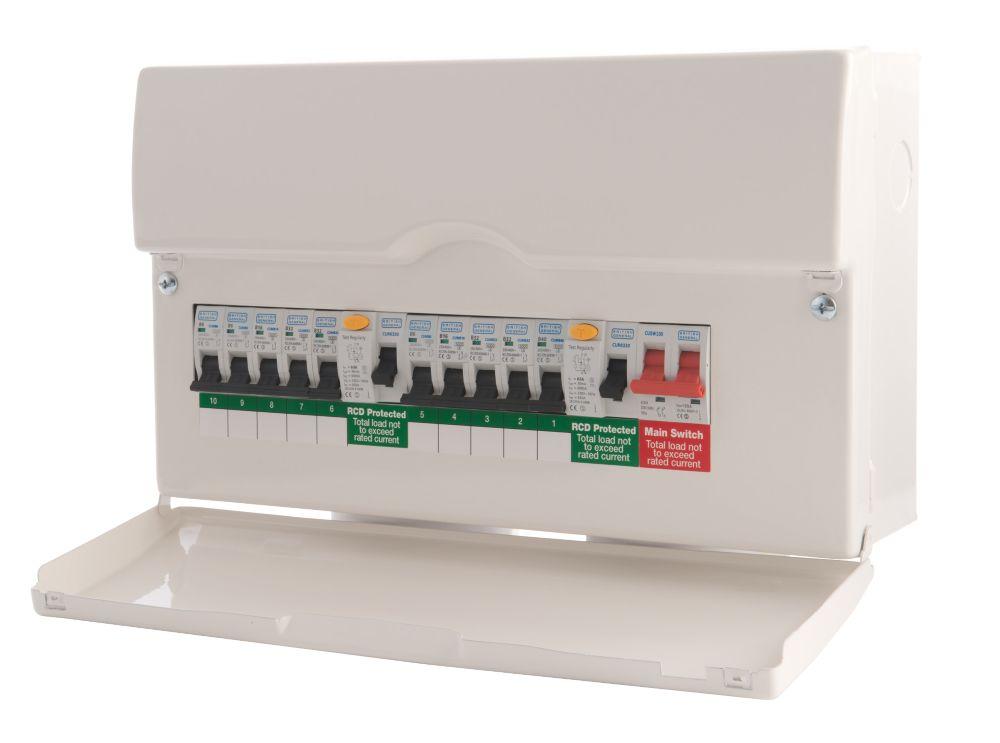 Image of BG 10-Way Dual RCD Metal Consumer Unit & 10 MCBs
