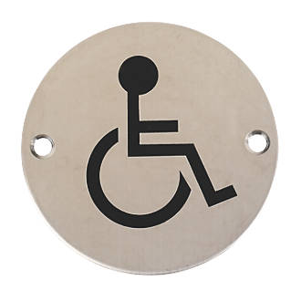 . Disabled Sign Satin Stainless Steel 76mm   Toilet Signs   Screwfix com