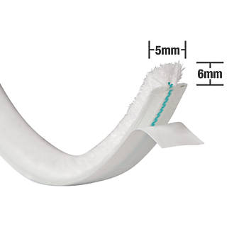 Stormguard Self-Adhesive Brush Pile Weatherstrip White 15m