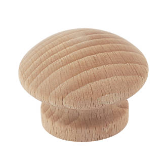 Traditional Cabinet Door Knob Plain Beech 40mm 2 Pack
