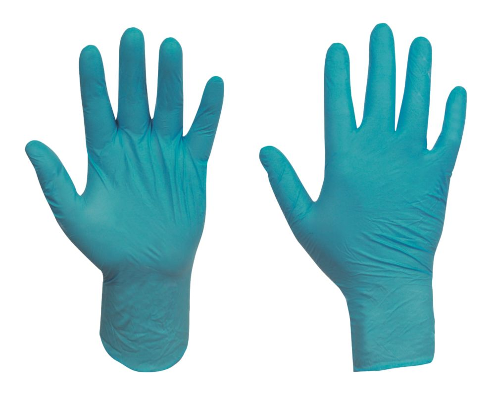 Ansell Touch N Tuff Nitrile Powder-Free Disposable Gloves Teal Large 100 Pack