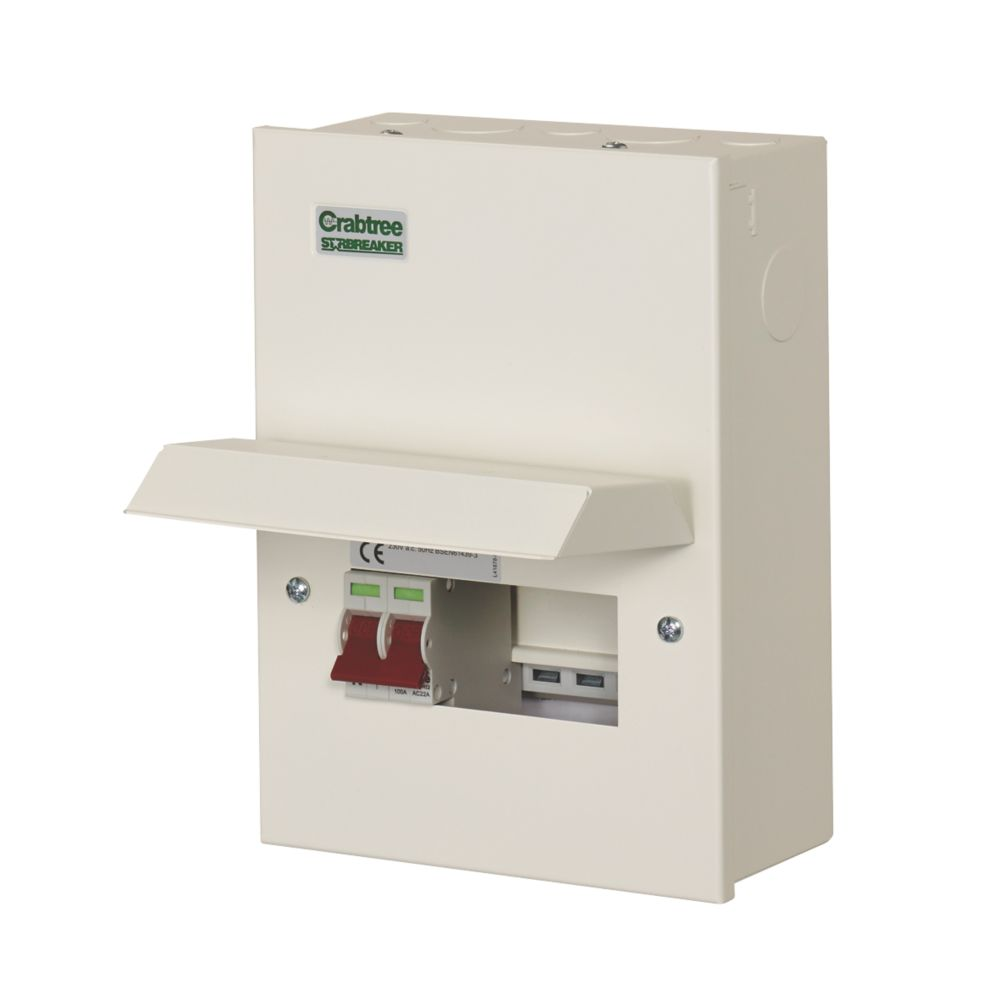 Crabtree Starbreaker 4-Way Metal Consumer Unit with 100A Main Switch