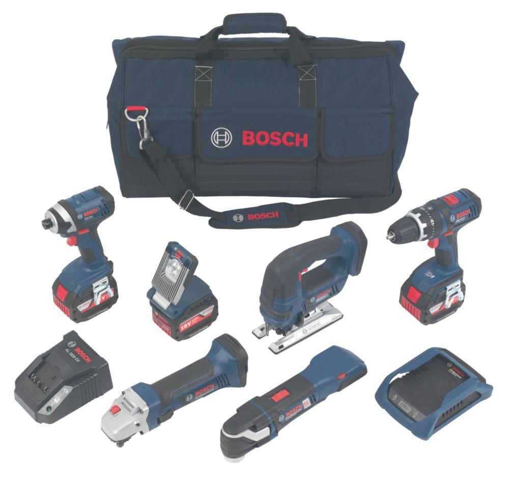 Bosch 0615990H1P 18V 4.0Ah Li-Ion Wireless Charging 6-Piece Kit