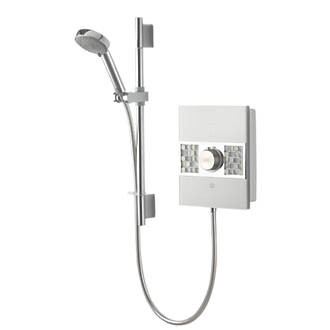 Aqualisa Sassi Electric Shower White  Chrome  Glass 10.5kW