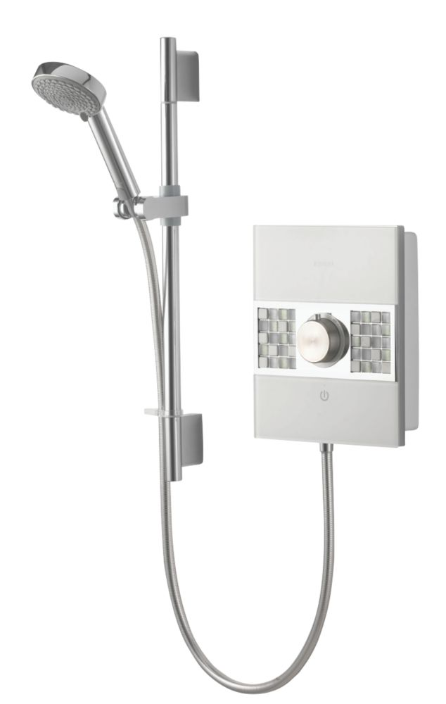 Aqualisa Sassi Electric Shower White / Chrome / Glass 10.5kW