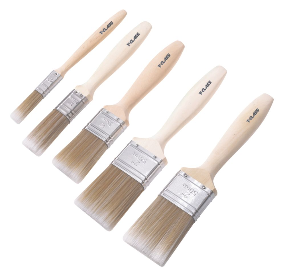 Image of T-Class Synthetic Bristle Paintbrushes 5 Pcs