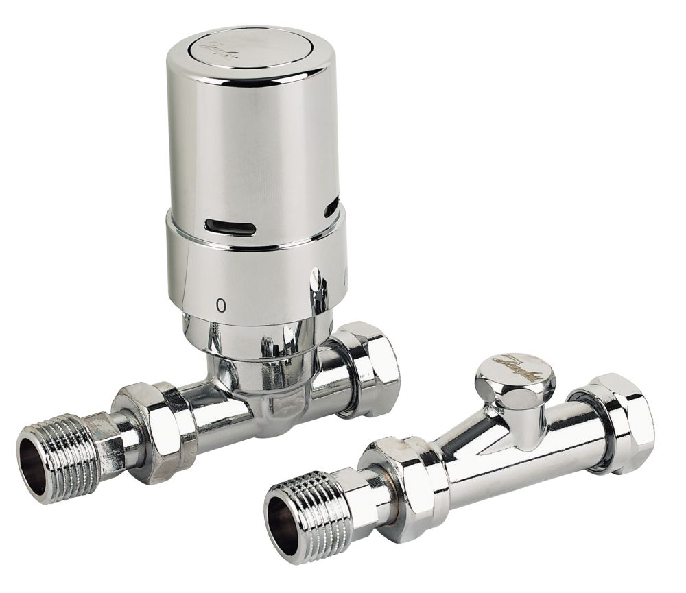 Danfoss RAS-D² Chrome Straight TRV & Lockshield 8/10/15mm