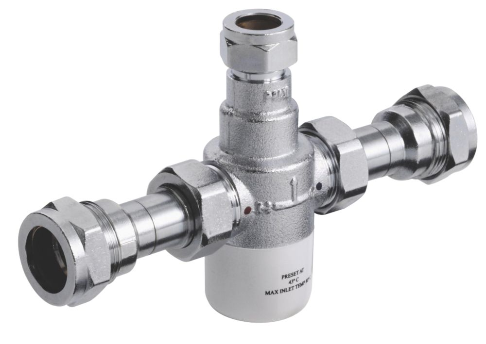 Bristan 15mm Thermostatic Mixing Valve with Isolator Chrome 63 x 108 x 21mm