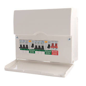 BG 6-Way High Integrity Dual RCD Metal Consumer Unit & 6 MCBs