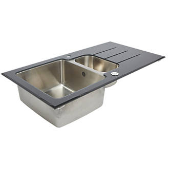 stainless steel glass top kitchen sink drainer 15 bowl reversible 950 x 500mm sinks screwfixcom - Glass Sink Kitchen