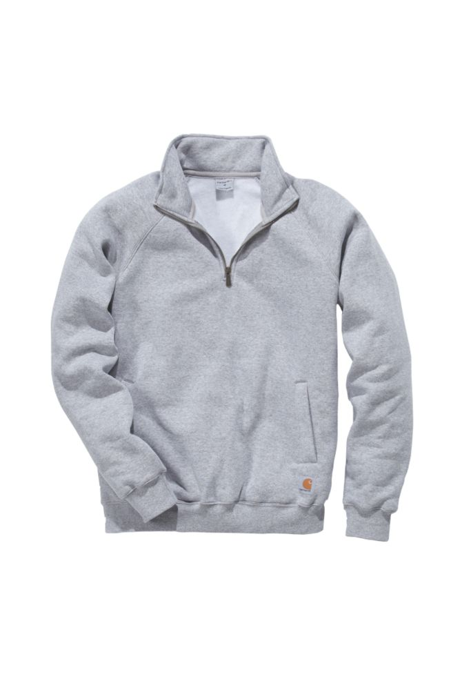"Carhartt ¼ Zip Mock Neck Sweatshirt Heather Grey Medium 46"" Chest"