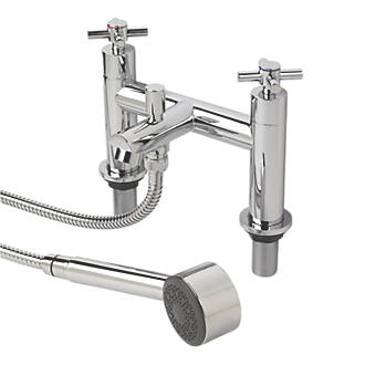 Swirl Minimalist Deck Mounted Bath Shower Mixer Taps Pair. Bathroom Taps   Taps   Screwfix com