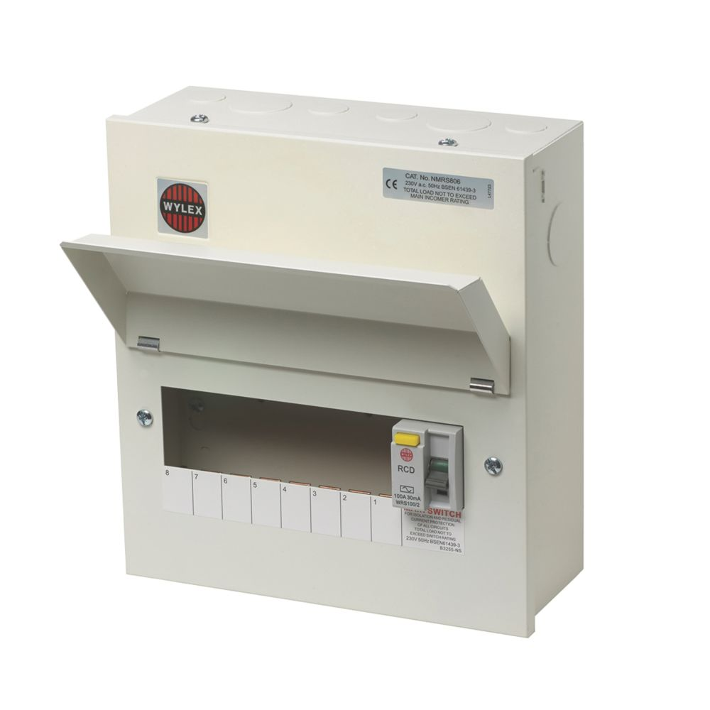 Image of Wylex 100A 8-Way Metal RCD Consumer Unit