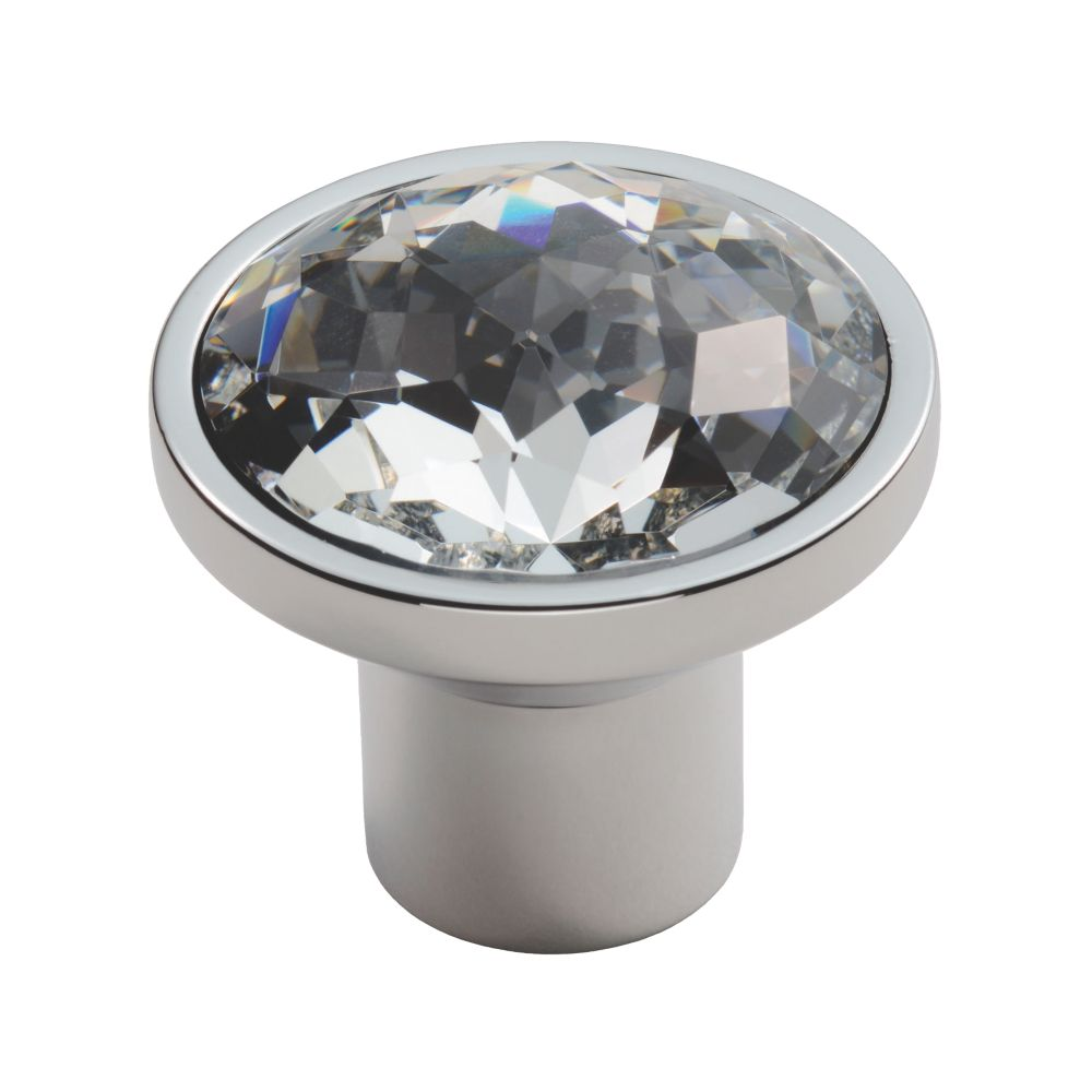 Carlisle Brass Crystal Round Furniture Knob Matt Satin Nickel 34mm