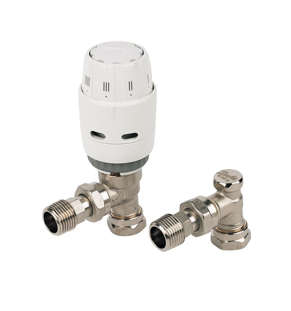 Danfoss RAS-C² White & Chrome Angled TRV & Lockshield 15mm