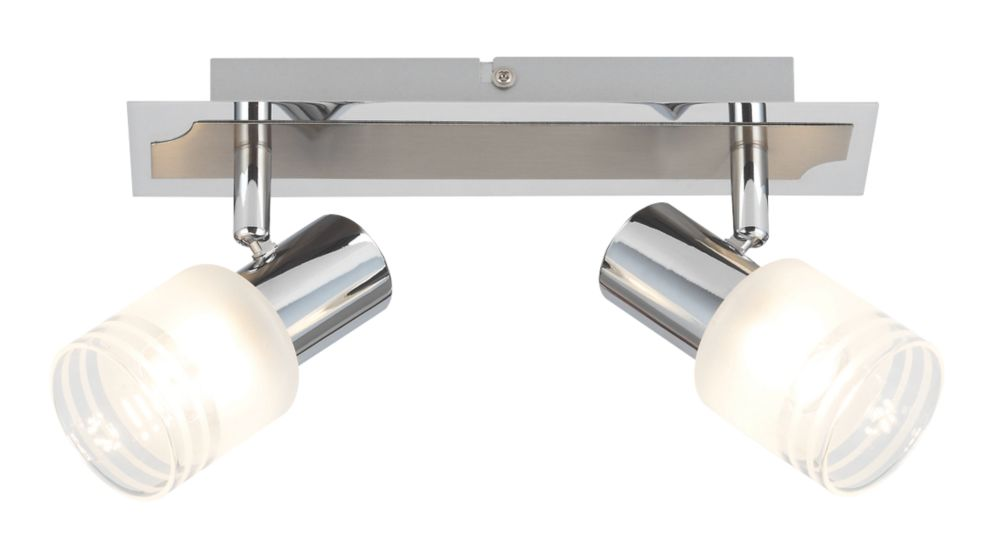 Image of Brilliant 2-Light LED Spotlight Satin Chrome 450lm 5W