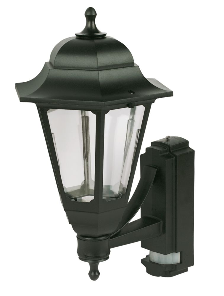 Image of ASD 100W Black Coach Lantern Wall Light PIR included