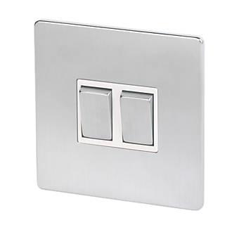 Chrome Light Switch Surround: LAP 2-Gang 2-Way 10AX Light Switch Brushed Chrome,Lighting