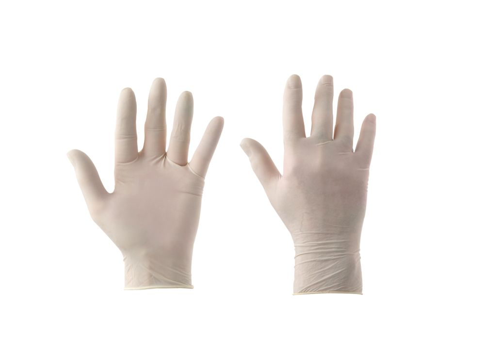 Cleangrip n/a Latex Powdered Powdered Disposable Gloves Clear Medium 100 Pack