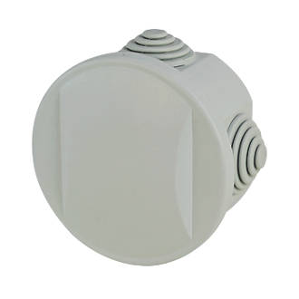 Round 4-Terminal Junction Box with Knockouts Grey 65mm.