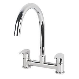 Swirl Rapture Dual Lever Deck Mixer Kitchen Tap Chrome.