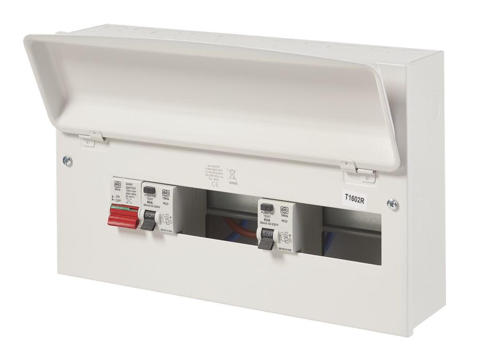 Image of MK Sentry 100A 16-Way Dual RCD Metal Consumer Unit & 2 x RCDs