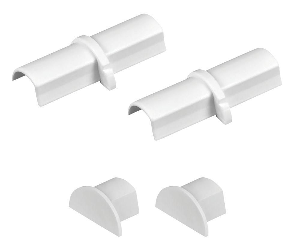 D-Line Micro Trunking Coupler & End Cap Pack 16 x 8mm White 4Pcs