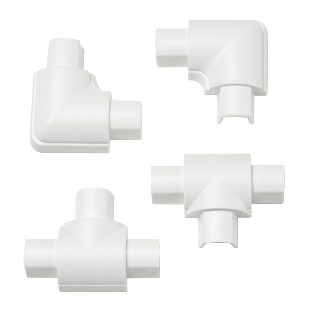 D-Line Micro Trunking Equal Tee & Flat Bend Pack 16 x 8mm White 4Pcs