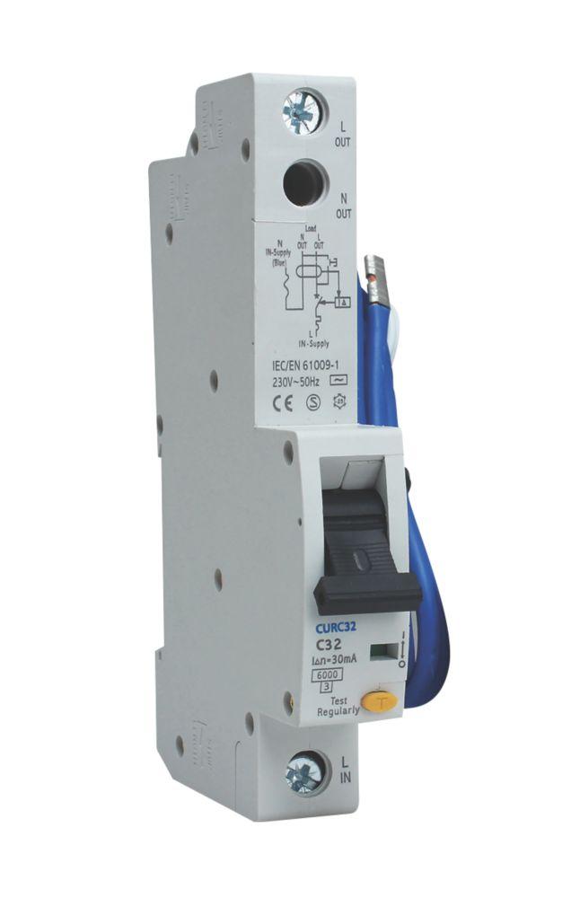 BG 32A 30mA Single Pole Type C RCBO