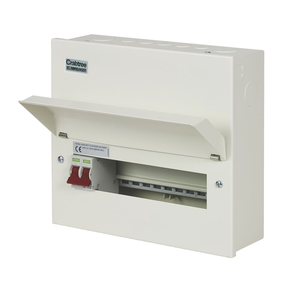 Crabtree Starbreaker 10-Way Metal Consumer Unit with 100A Main Switch