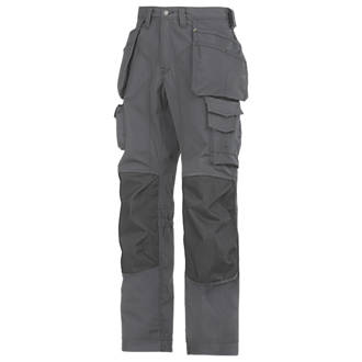 Snickers RipStop Floorlayer Trousers Grey  Black 35 W 32 L