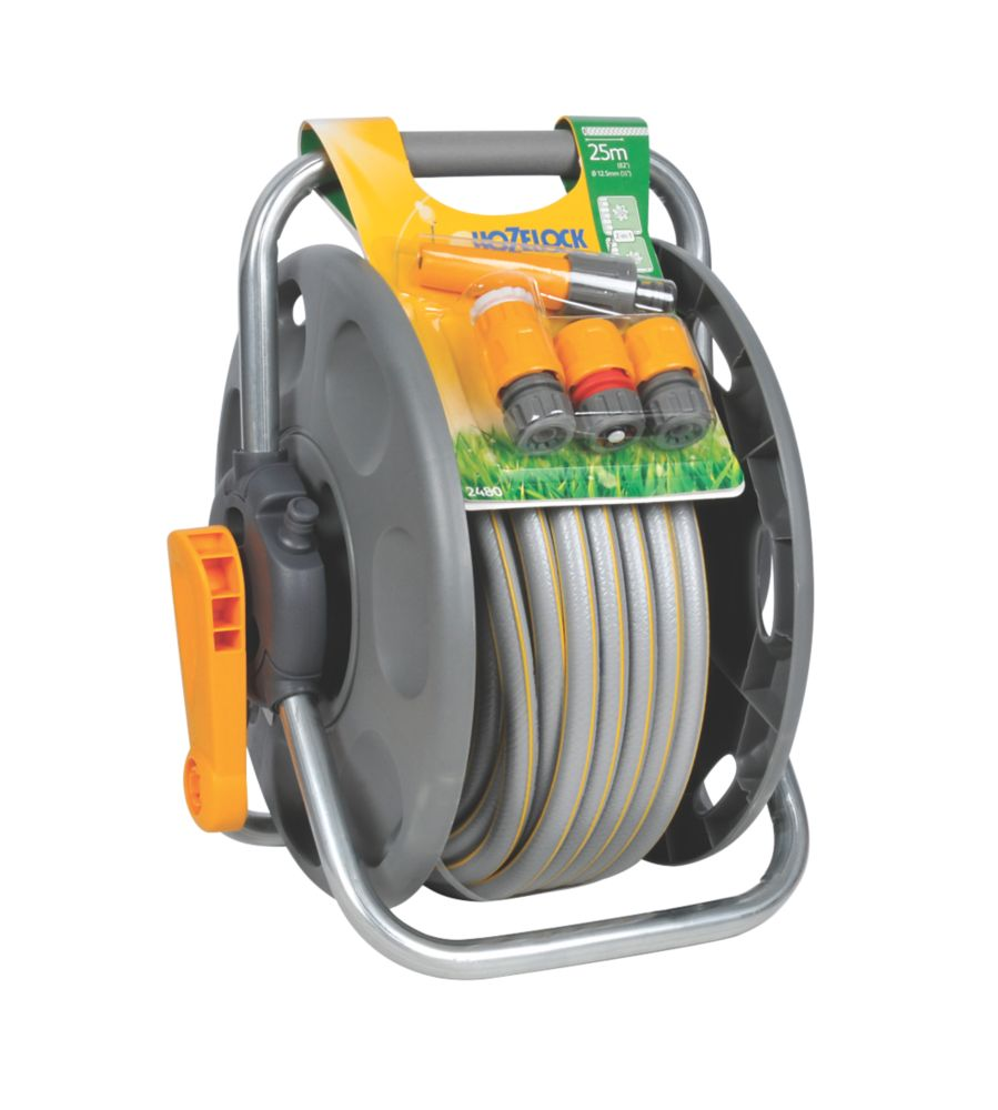 Hozelock 2 in 1 25m Freestanding Hose Reel & Hose (Green)