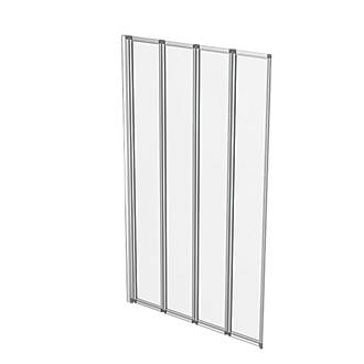 Aqualux Folding Bath Screen SilverClear 820 x 1400mm