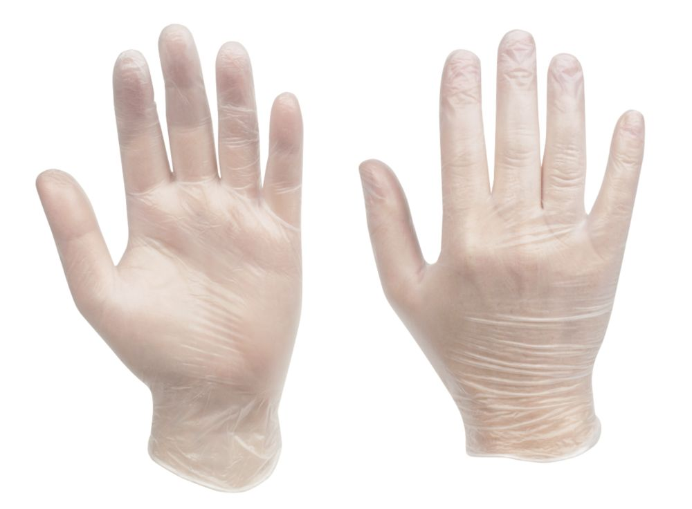 Cleangrip n/a Vinyl Powdered Disposable Gloves Clear Medium 100 Pack